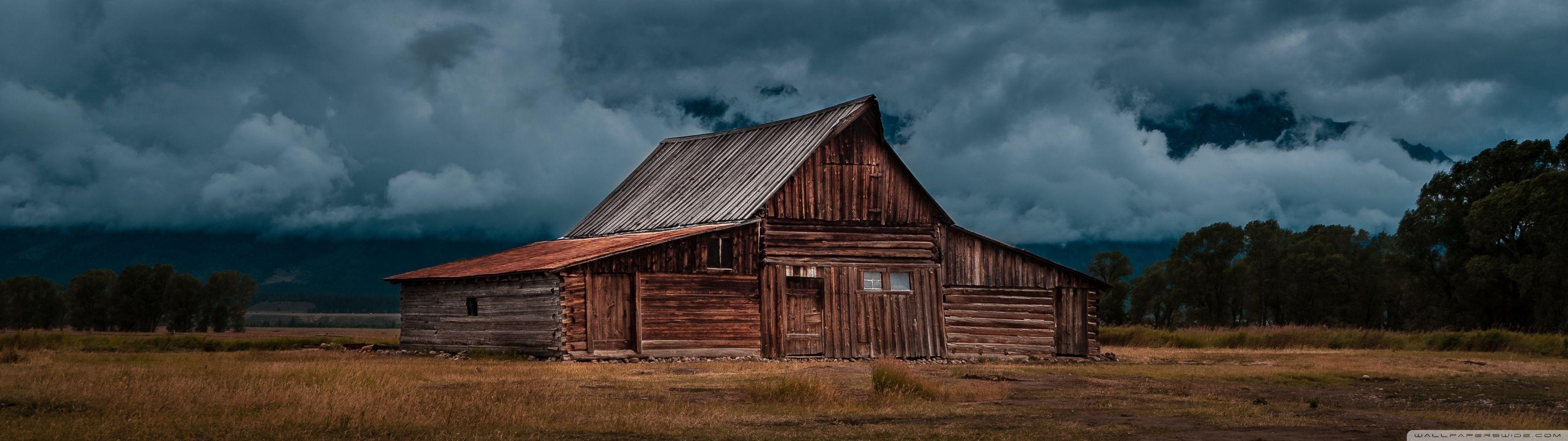 Abandoned Barn Dual Monitor Wallpaper 3840x1080