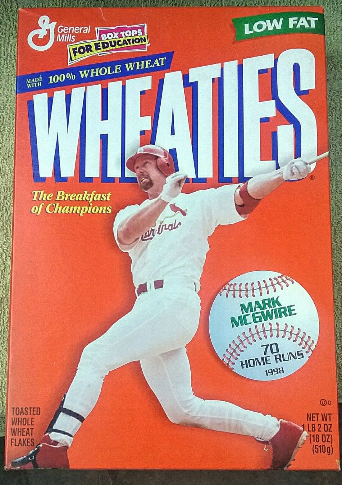 1998 Wheaties Mark Mcgwire 70 Home Run Cereal Box 90s Vintage Vtg