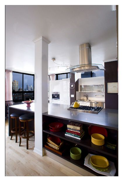 One structural column in kitchen island for the home - Kitchen island with post ...