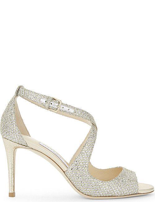 JIMMY CHOO Emily 85 champagne glitter heeled sandals
