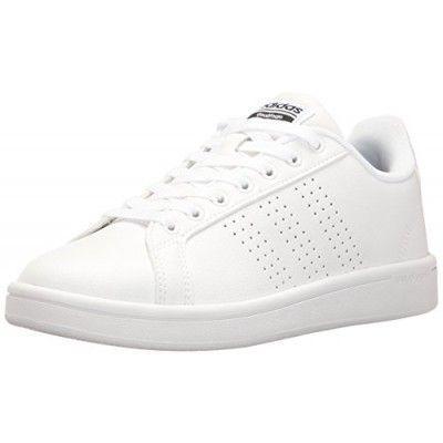 adidas NEO Women\u0027s Cloudfoam Advantage Clean W Fashion Sneaker,  White/White/Black,