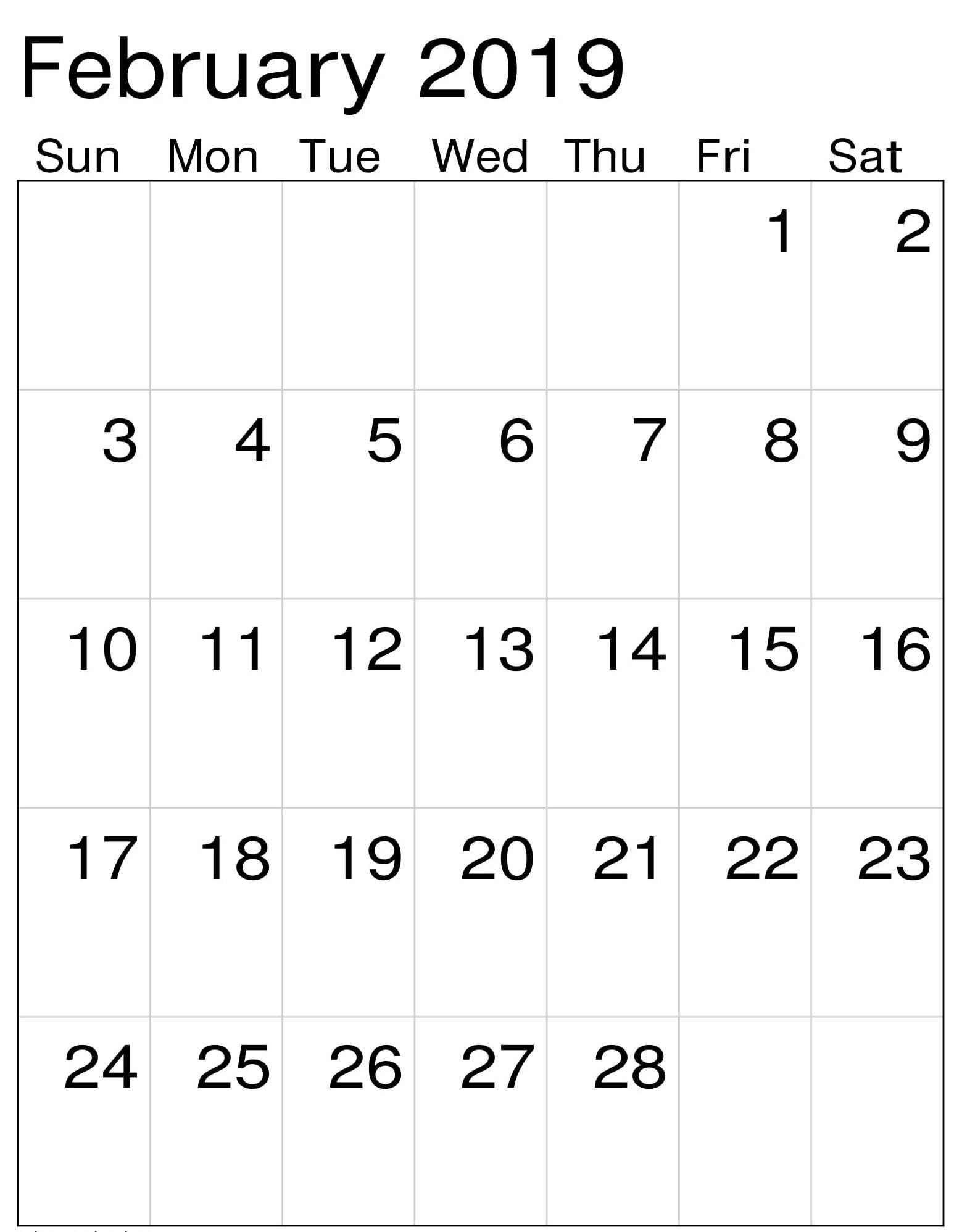 February 2019 Calendar Vertical 2019 Calendar Calendar February