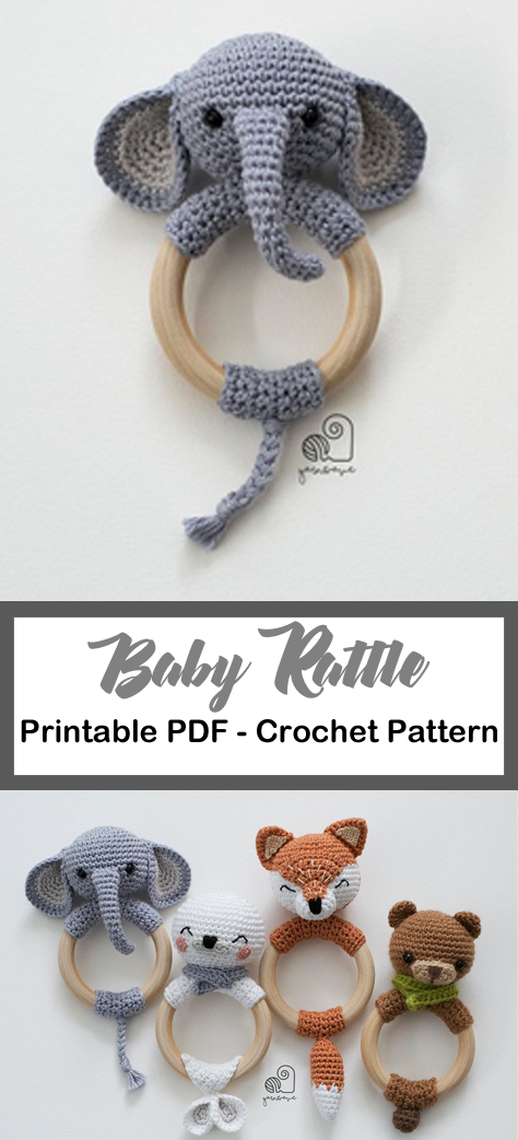 Make a Cute Elephant Rattle #crochetelephantpattern