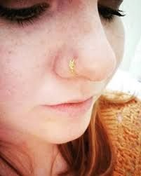 double nose hoop piercing thin gold - Google Search #doublenosepiercing