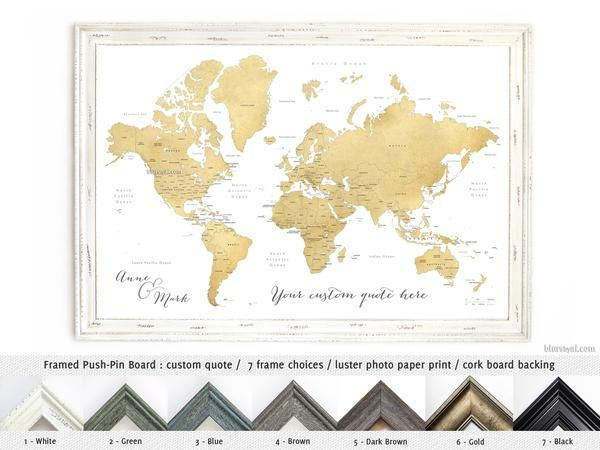 Framed push pin board featuring your custom quote world map with framed push pin board featuring your custom quote world map with countries and states in gumiabroncs Image collections