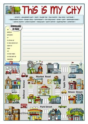 multi purpose activity vocabulary related to the towns and buildings prepositions of place. Black Bedroom Furniture Sets. Home Design Ideas