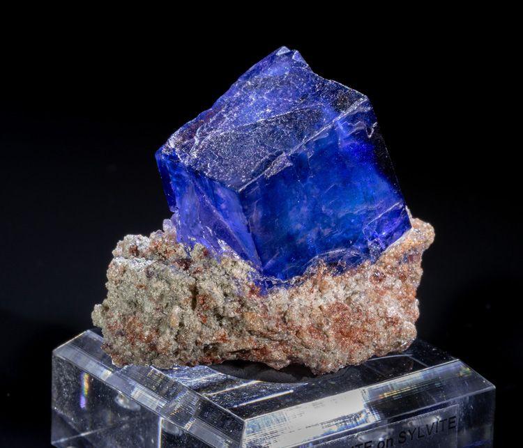 Large Blue Halite Cube on Matrix Mineral Specimen for Sale from Kerr