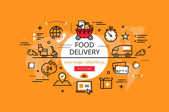 Food Delivery Hero Banners Set Food Delivery Food Delivery Logo Brochure Food