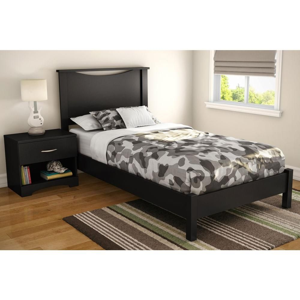 South Shore Step One Twin Size Headboard In Pure Black 3107089