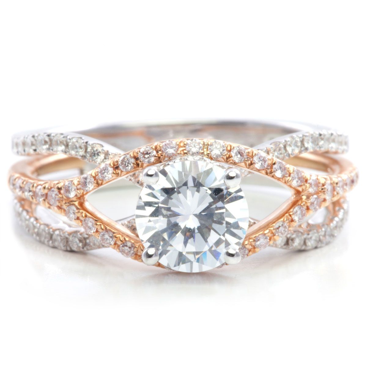 Rose Gold Unique Crossover Diamond Engagement Ring | Rose ...