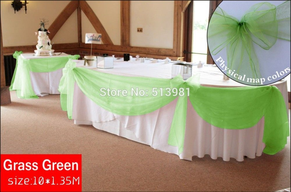 New Design Grass Green 10m135m Sheer Organza Wedding Christmas