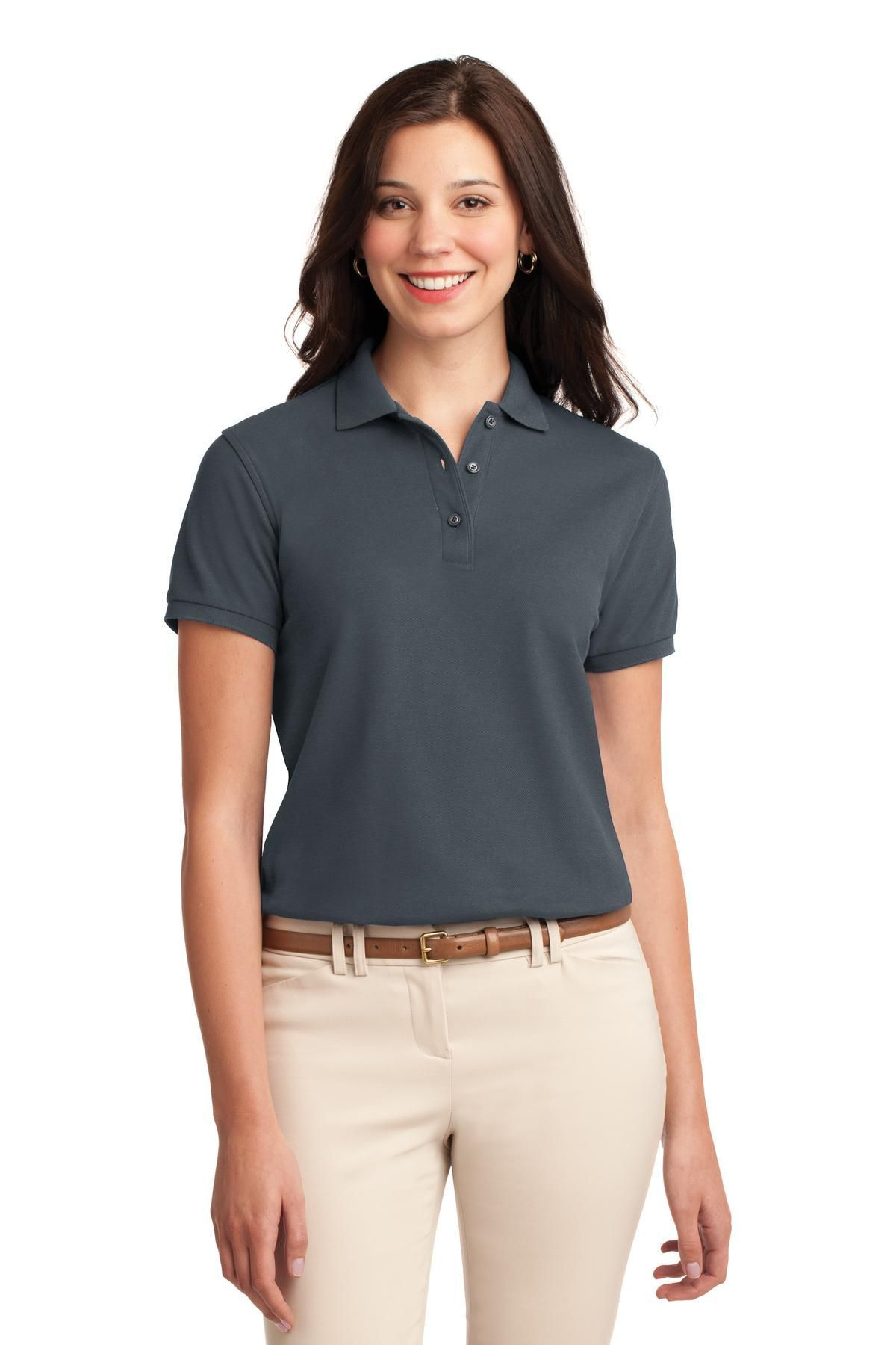 Port Authority Ladies Silk Touch Polo L500 Steel Grey
