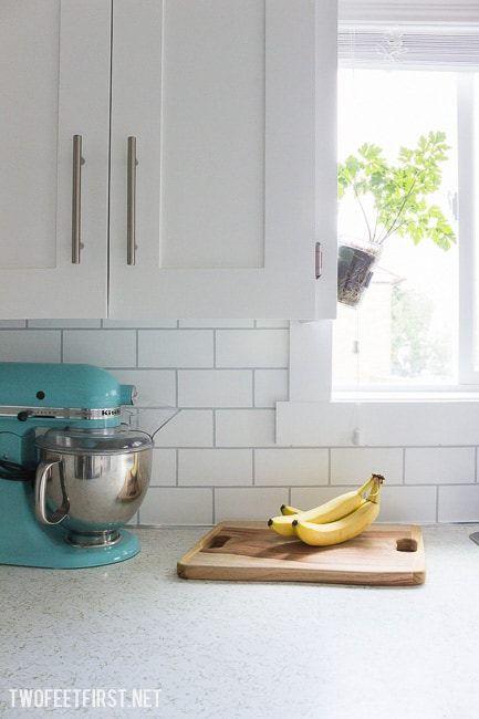 How to Paint a Backsplash to Look like Tile Kitchen backsplash