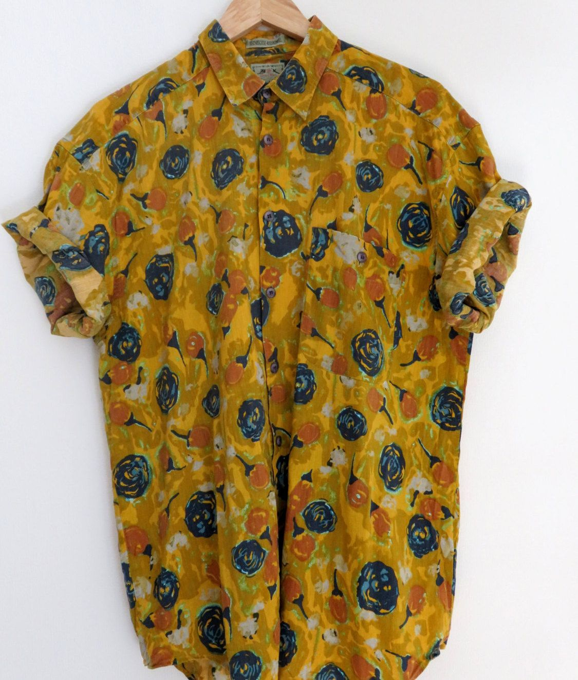 b2bc925b Lovley vintage men's short sleeve button up shirt, yellow with blue floral  print and one chest pocket + nice and soft // Men's size - Large/41/42.