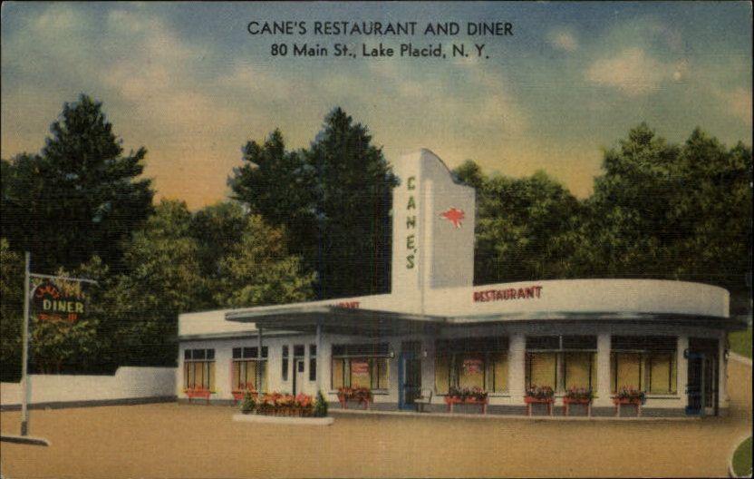 Lake Placid Ny Cane S Restaurant And Diner Old Art Deco Linen Postcard Old Art Art Deco Lake Placid