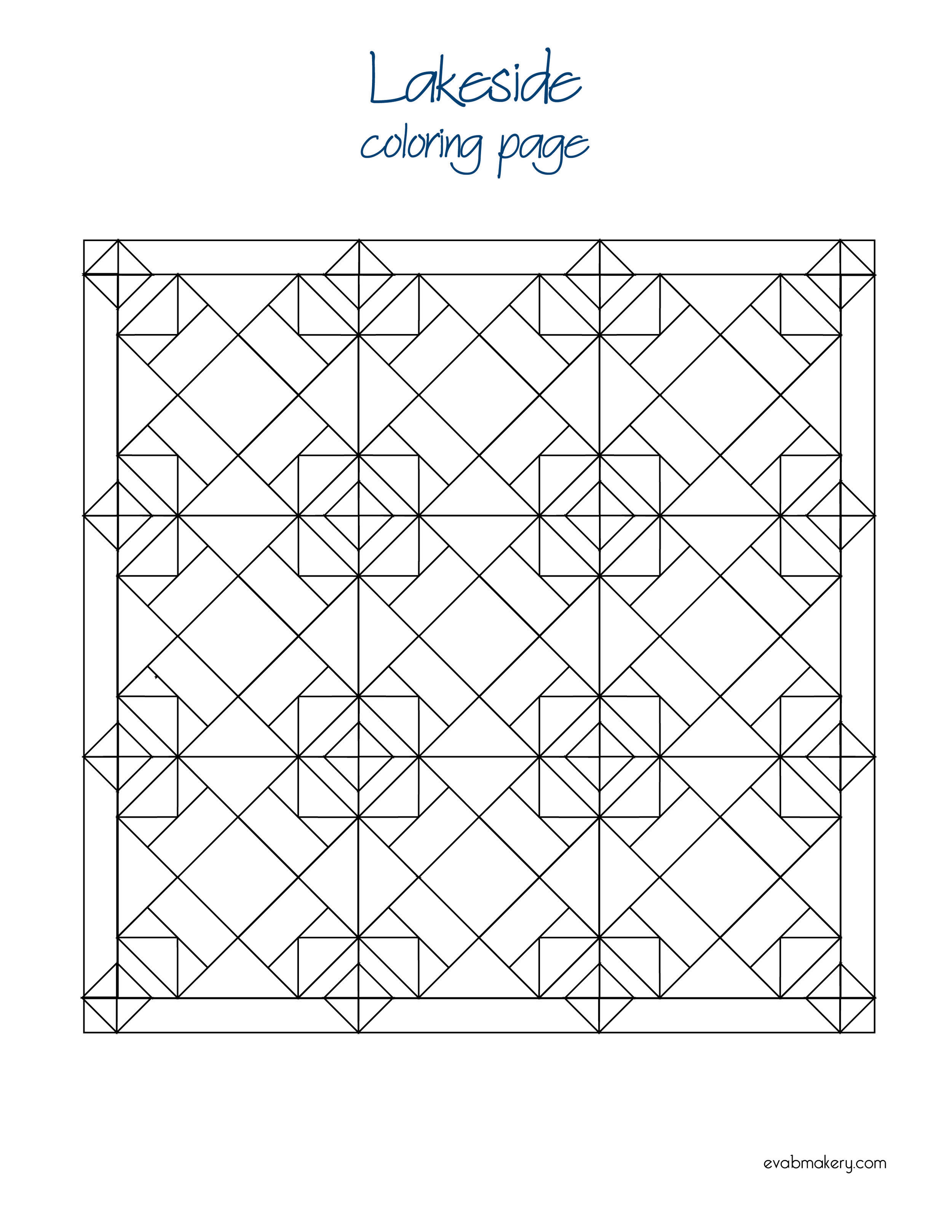 Lakeside Quilt Coloring Page Pdf Coloring Pages Quilts Color