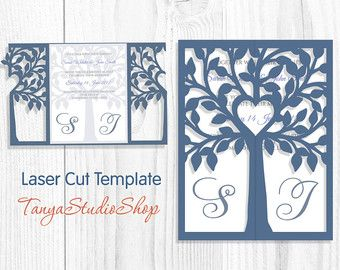Png Laser Etsy Tree Wedding Invitations Wedding Silhouette Silhouette Cameo Cards