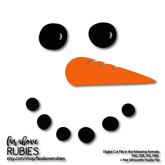 Snowman Face with Carrot Nose SVG EPS dxf png jpg digital craft - snowman face template