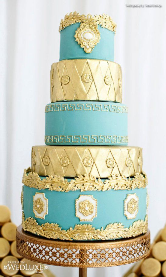 Queen Of The Nile Wedding Cake.  Turquoise and gold wedding cake