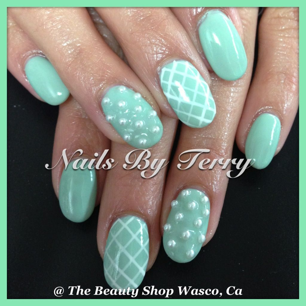 Mint green gel nails | Nails By Terry | Pinterest