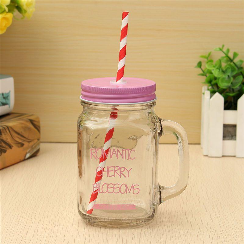 450ml transparent fruit juice cool drink glass cup mug mason jar lemon bottle with cover straw - Mason Jar Drinking Glasses