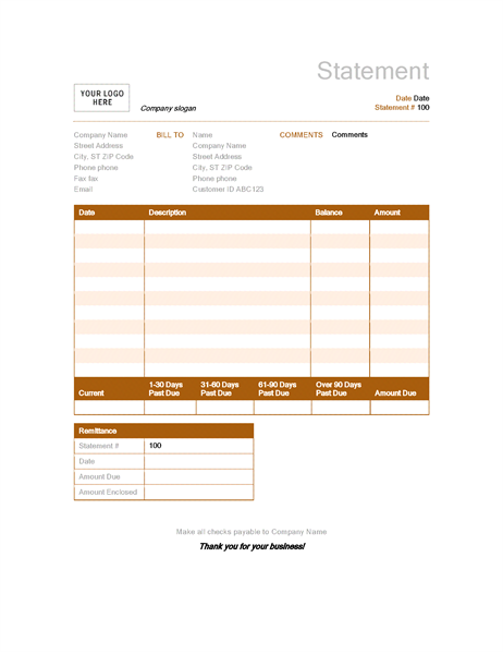 Billing Statement Rust Design  Ivoice And Quotation