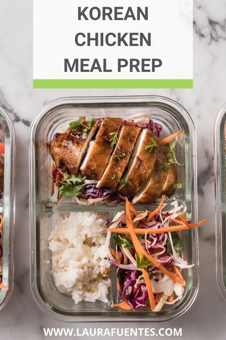 This healthy lunch meal prep features sweet-tangy Korean chicken with Jasmine rice and Asian slaw. Enjoy it for a meal at home or pack it for later! @perduefarms #perdurfarms_partner