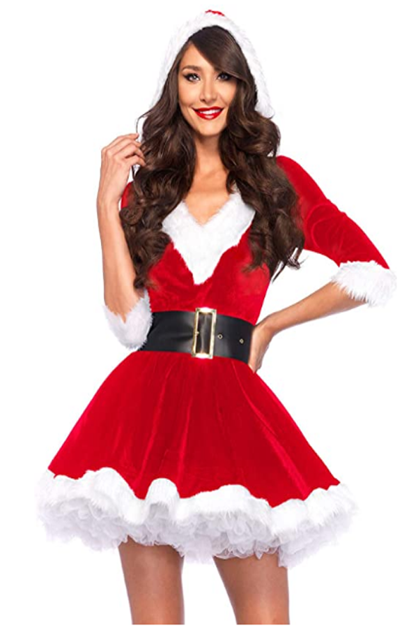 You can be nice and just a little bit naughty wearing this soft velvet faux fur trimmed Santa dress. Dress for christmas party. #christmasdress #christmasoutfit #christmas #christmasclothes #santa