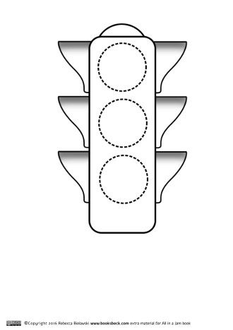 Free coloring page of traffic light. For tracing and
