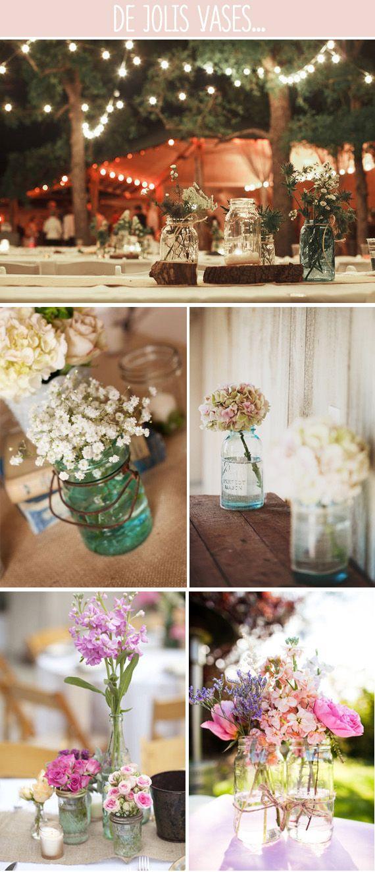 Des bocaux pour les vases Inspiration Mariage Pinterest