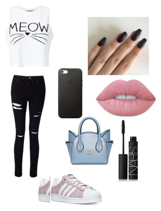 """Bez naslova #15"" by jelena-hadzimusovic on Polyvore featuring moda, Miss Selfridge, adidas, Lime Crime i NARS Cosmetics"