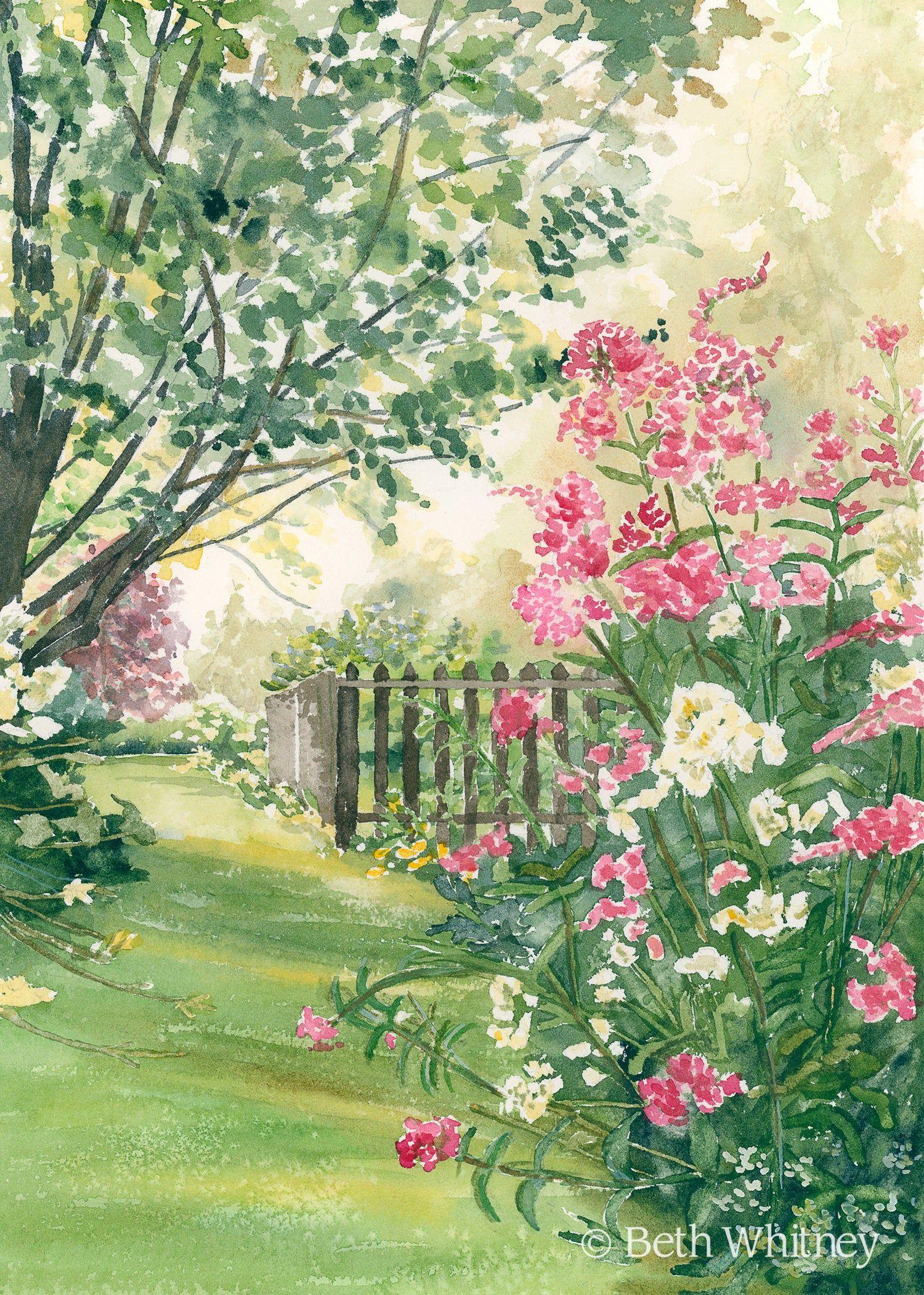 Misty Morning Sunshine Watercolor Garden Art Print Etsy Garden Painting Garden Watercolor Garden Wall Art