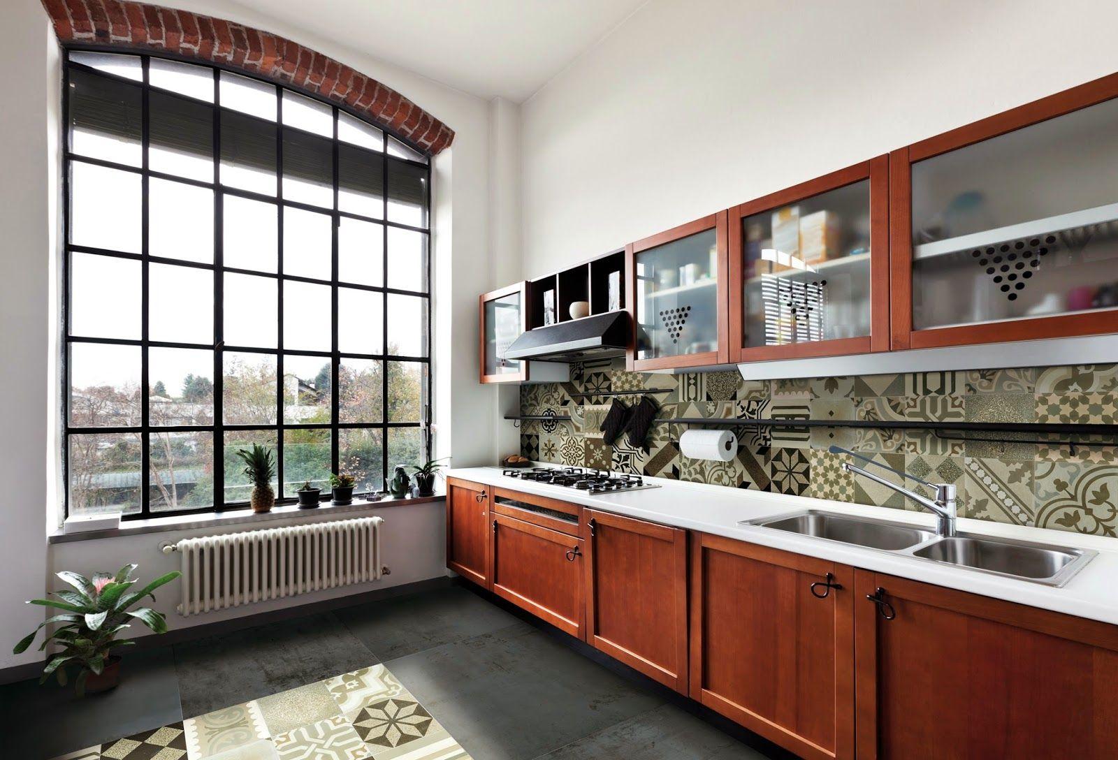 Mosaicos hidráulicos dispuestos en pared y piso de cocina | Ideas de ...