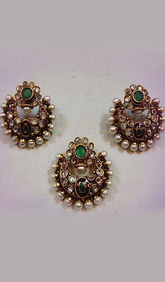 Pendantsets antique gold finish gemstone pendant set with pearl