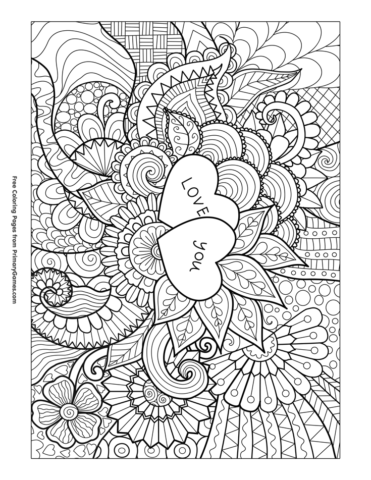 Valentine\'s Day Coloring Pages eBook: Love You Zentangle | Mandalas ...