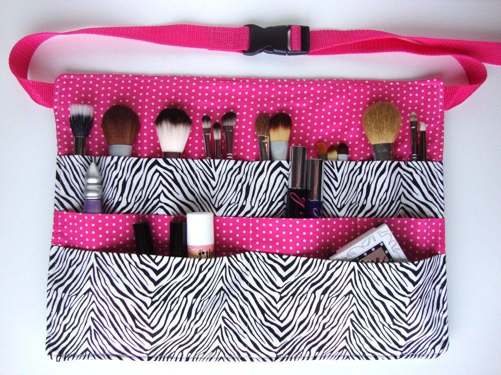 Pink Makeup Brushes Makeup Artist Brush Belt Hot Pink Zebra By Pinkglitterboutique Makeup Artist Kit Diy Sewing Projects Pink Makeup Brush