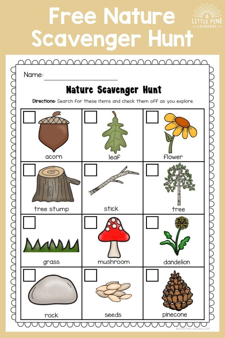 Download your FREE Nature Scavenger Hunt for kids here ...