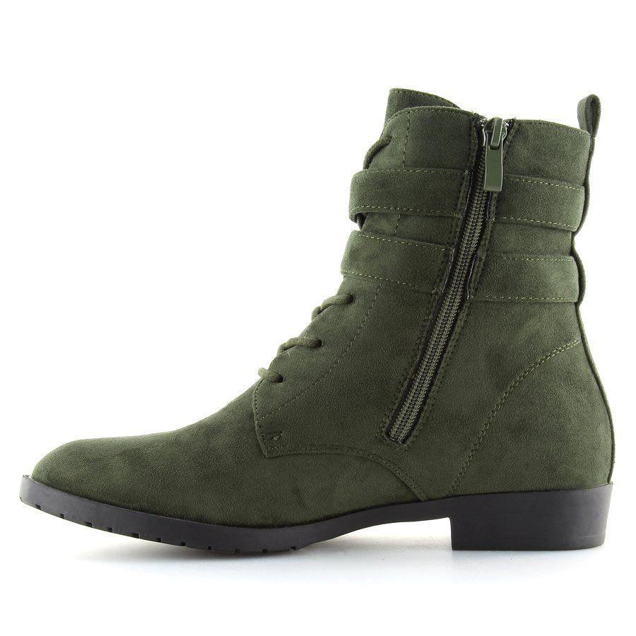 Botki Sznurowane Zamsz Zielone H7187 Verde Boots Combat Boots Wedge Sneaker
