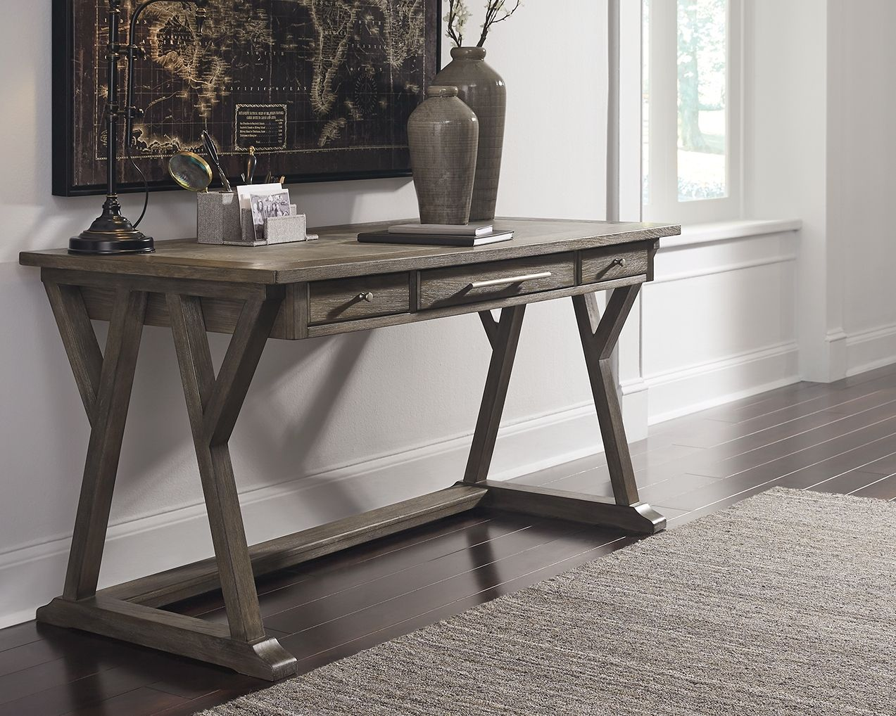 luxenford 60 home office desk grayish brown products home rh pinterest com