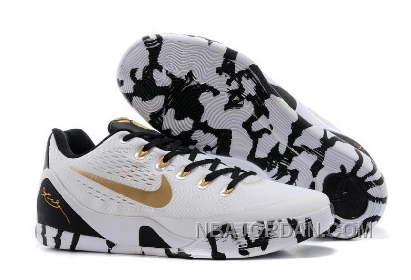 1c9f4a0e239e Nike Kobe 9 Low EM XDR White Black Gold Mens Basketball Shoes ...