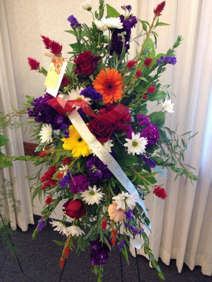 Easel spray for a funeral sympathy flowers flower