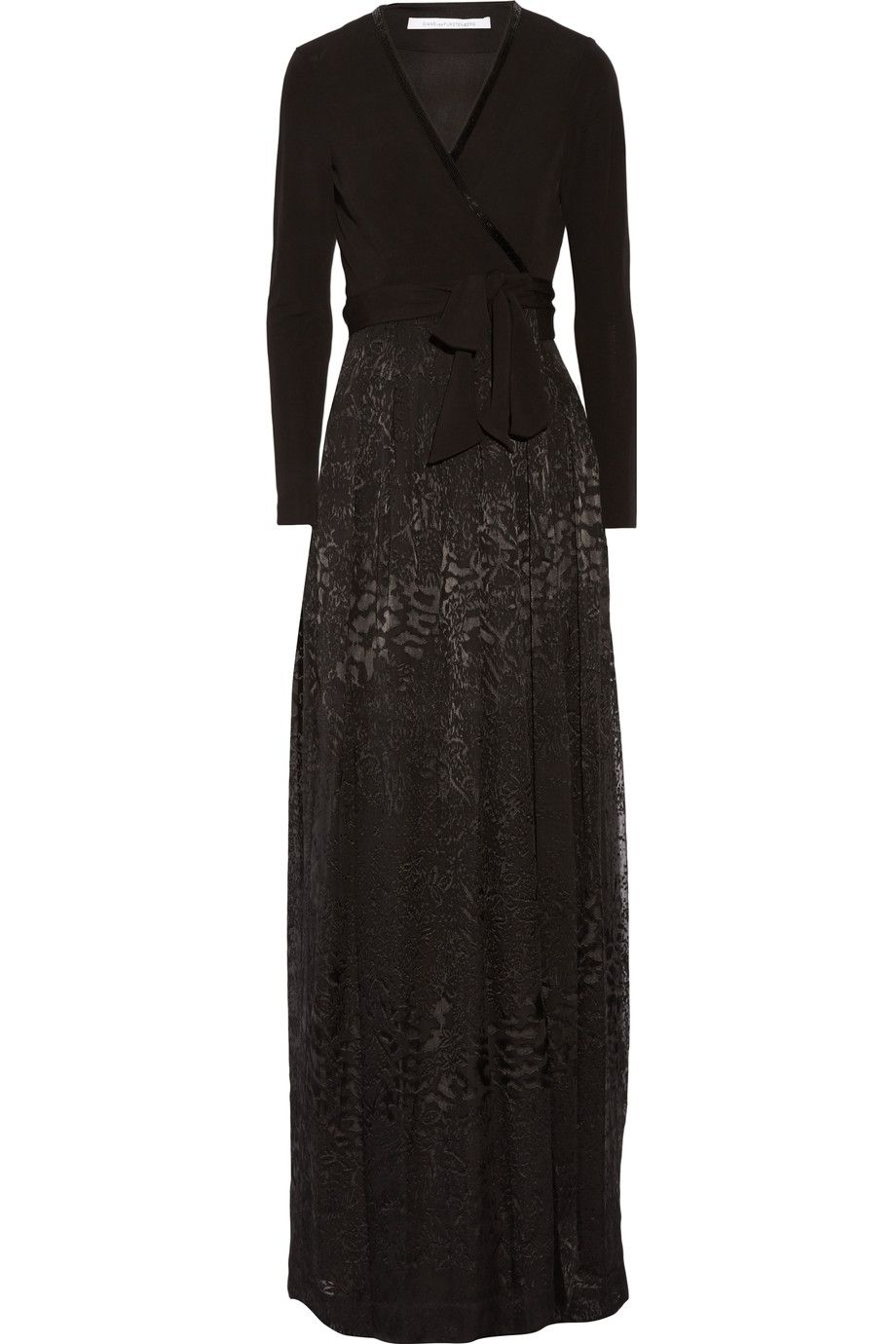 DIANE VON FURSTENBERG Kailey Wrap-Effect Flocked Silk-Blend And Crepe Maxi Dress. #dianevonfurstenberg #cloth #dress