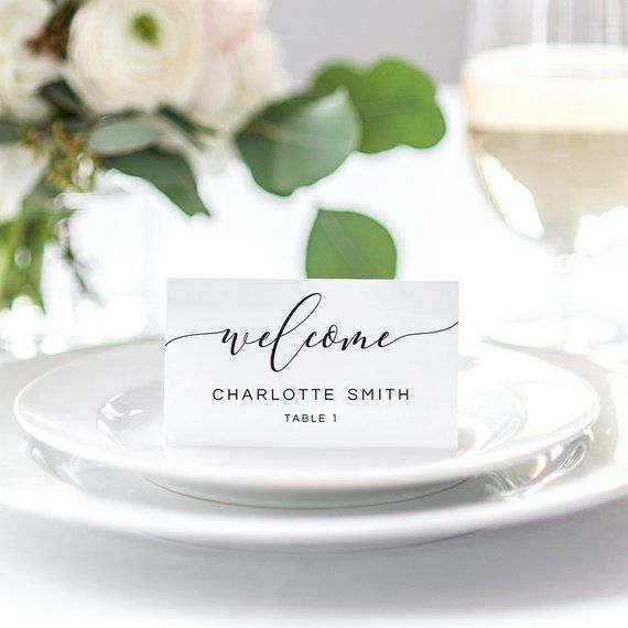Wedding Place Cards Template Black And White Rustic