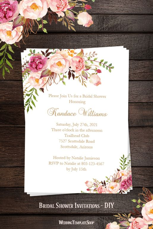 Bridal Shower Invitation Template Romantic Blossoms Printable DIY  Printable Wedding Shower Invitations Templates