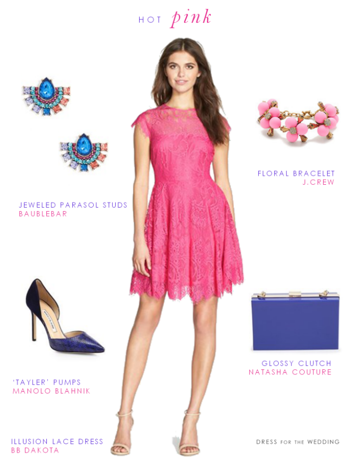 Hot Pink Lace Dress Hot Pink Dresses Pink Wedding Guest Outfits