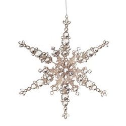 "12"" Luxury Lodge Champagne Glittered Snowflake Christmas Ornament"