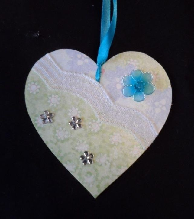 10 cm decorated hanging heart (pale green) £4.00