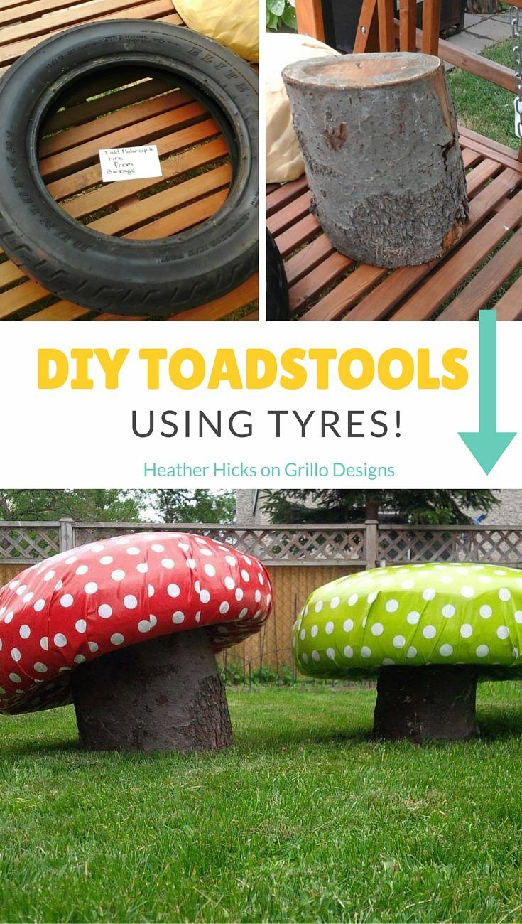 heather hicks shares how to create these cute diy toadstools for the garden using tyres and - Garden Ideas Using Tyres