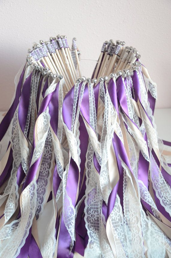 Lace And Purple Wedding Ribbon Wands Fairy Sticks Without Bells Streamers Bubbles Birthday Party Fall Outdoor