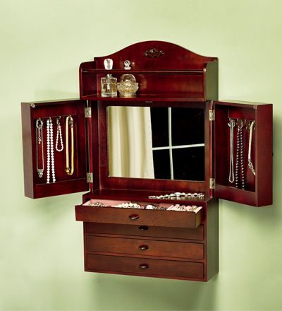 Wall Jewelry Armoire - Keep jewelry handy and organized in this wall ...